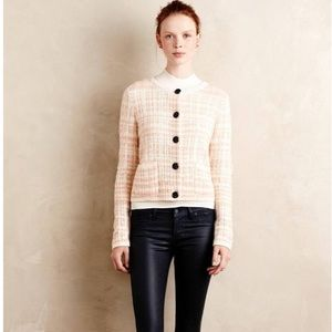 Knitted & Knotted Pink BOUCLE PLAID Cardigan Wool